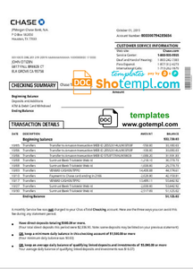 USA Chase account statement template in Word and PDF format, good for address prove
