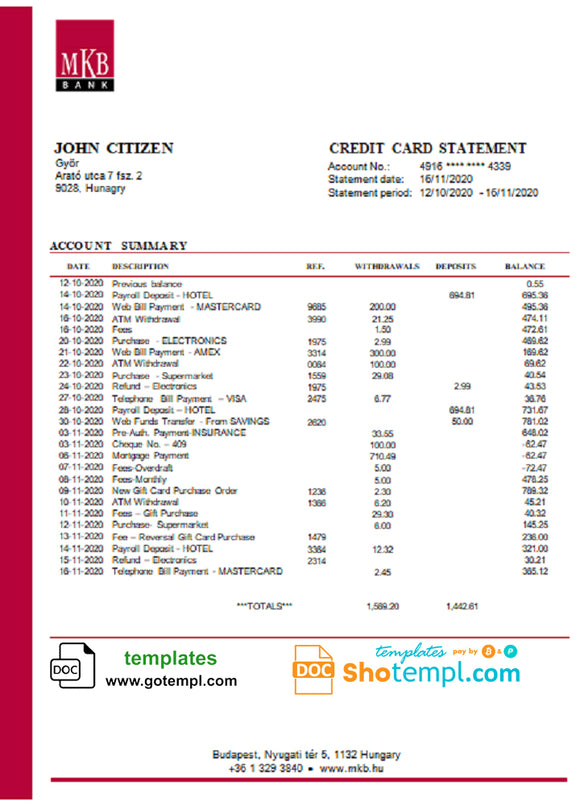 Hungary MKB Bank statement template in Word and PDF format