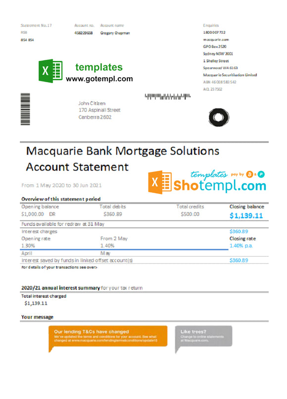 Australia Macquire Bank statement easy to fill template in Excel and PDF format