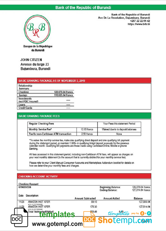 Burundi Bank of the Republic of Burundi proof of address bank statement template in Word and PDF format