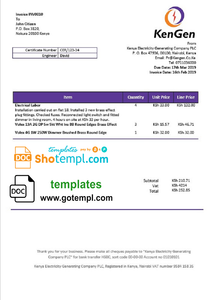 Kenya KenGen Electricity Generating Company utility bill template in Word and PDF format