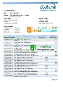 Central African Republic Ecobank bank statement easy to fill template in .xls and .pdf file format (AutoSum)