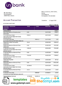 Estonia Inbank bank statement template, Word and PDF format (.doc and .pdf)