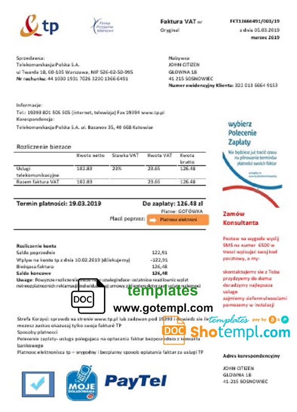 Poland TP utility bill template in Word and PDF format