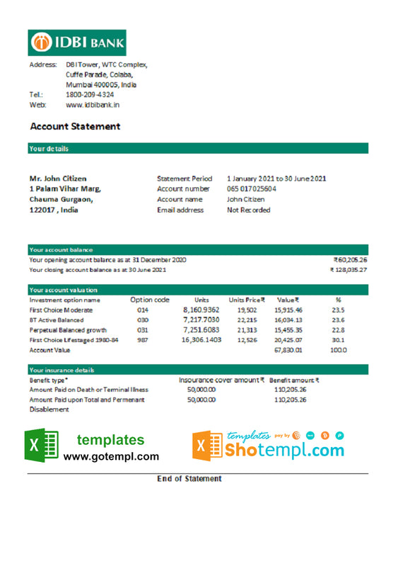 India IDBI bank statement easy to fill template in Excel and PDF format