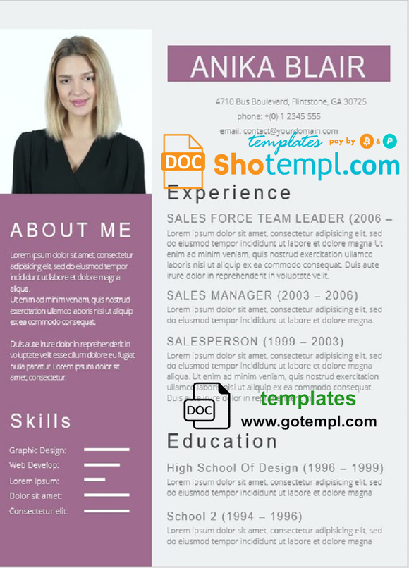 Professional Resume Template in WORD format