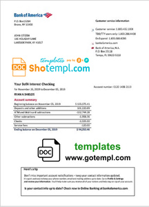 USA Bank of America bank statement easy to fill template in Word and PDF format