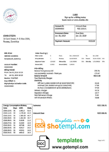 Dominica Electricity Services Limited electricity utility bill template in Word and PDF format
