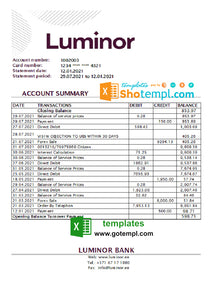 Estonia Luminor bank statement easy to fill template in .xls and .pdf file format