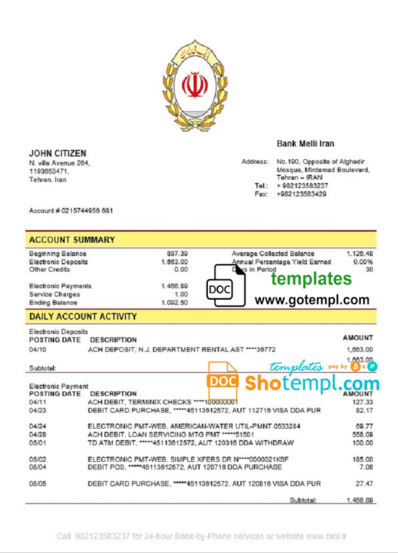 Iran Melli Bank statement template in Word and PDF format, good for address prove