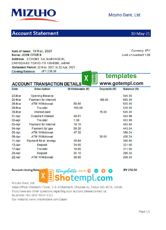 Japan Mizuho bank statement template in .xls and .pdf file format