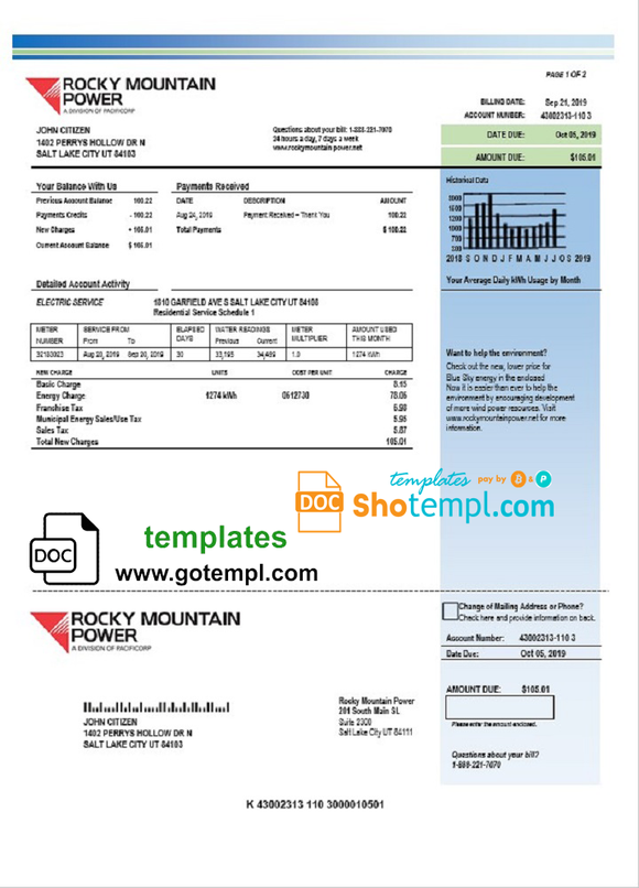 USA Utah Rocky Mountain Power electricity utility bill template in Word and PDF format