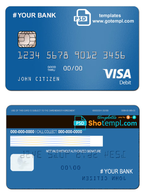 # bright blue universal multipurpose bank card template in PSD format, fully editable