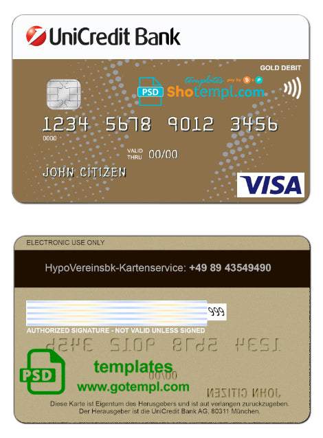 Germany UniCredit Bank VISA Credit Card template in PSD format, fully editable