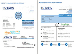 USA Georgia JACKSON EMC utility bill template in Word and PDF format 2 pages)