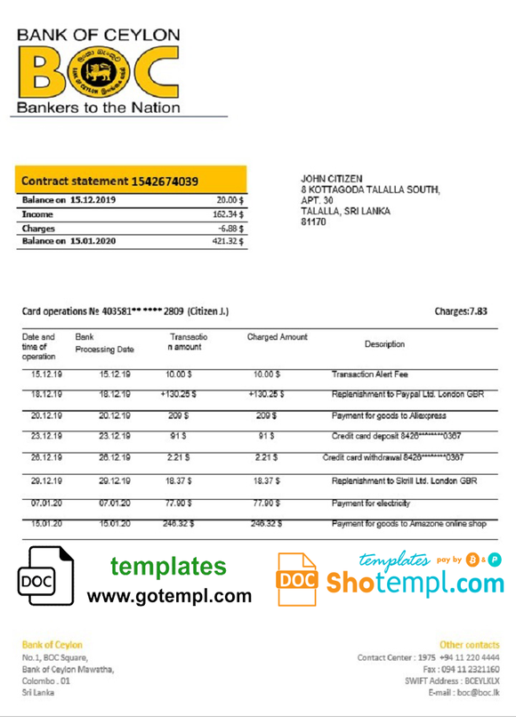 Sri Lanka Bank of Ceylon bank statement template in Word and PDF format, good for address prove