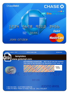USA Chase bank MasterCard Debit card template in PSD format, fully editable