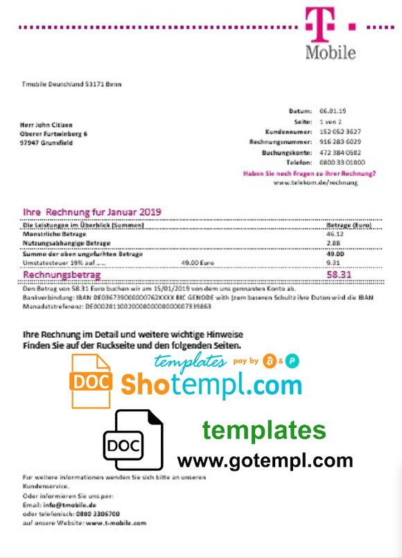 Germany T Mobile utility bill template in Word and PDF format