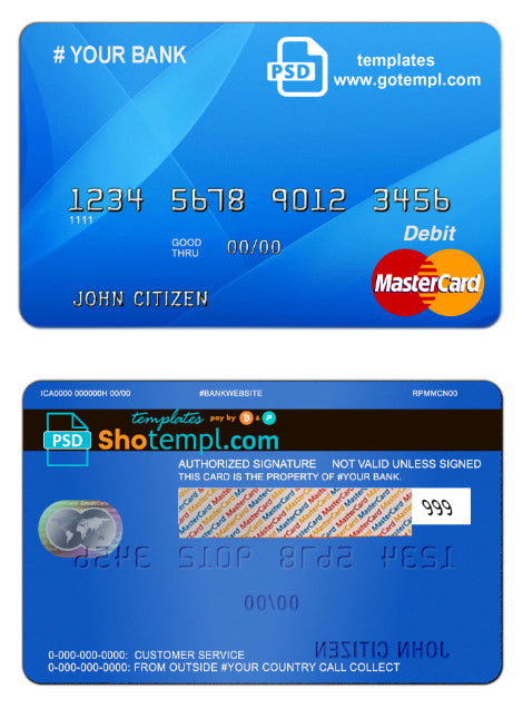 # blue decade universal multipurpose bank card template in PSD format, fully editable
