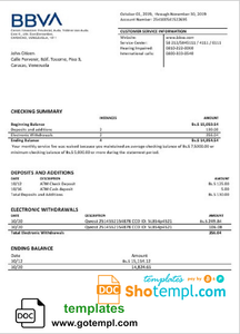 Venezuela BBVA bank proof of address statement template in Word and PDF format (.doc and .pdf)