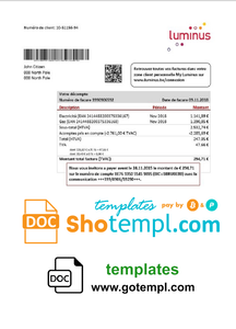 Belgium Luminus utility bill template in Word and PDF format (in .doc and .pdf format)