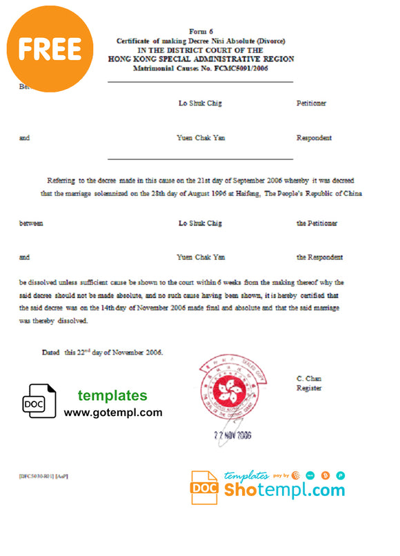 Hong Kong Divorce certificate template in Word and PDF format