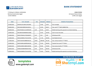 Egypt Blom Bank proof of address statement template in Word and PDF format (.doc and .pdf)
