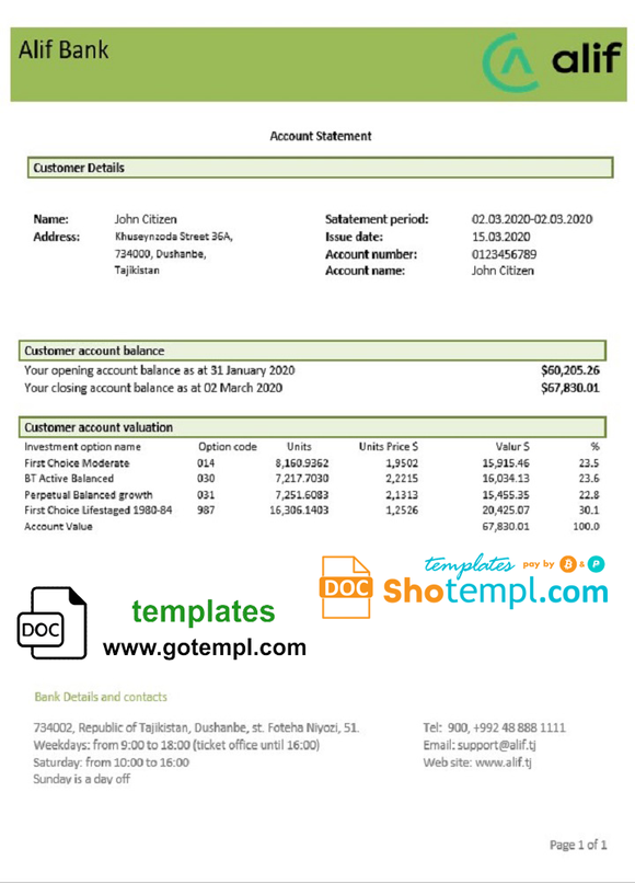 Tajikistan Alif Bank statement template, Word and PDF format (.doc and .pdf)
