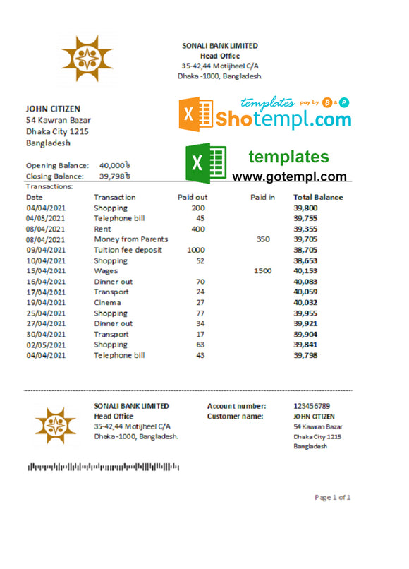 Bangladesh Sonali bank statement easy to fill template in Excel and PDF format