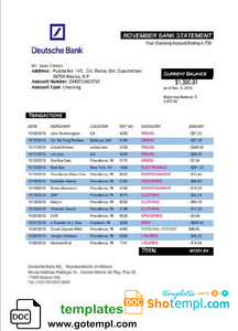Mexico Deutsche bank statement template in Word and PDF format, good for address prove