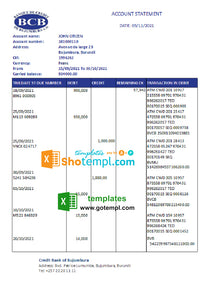 Burundi Credit Bank of Bujumbura bank statement template in .xls and .pdf file format