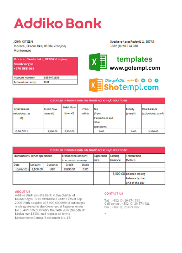 Montenegro Addiko Bank statement easy to fill template in .xls and .pdf file format