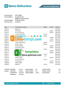 Ecuador Banco Bolivariano bank statement easy to fill template in .xls and .pdf file format