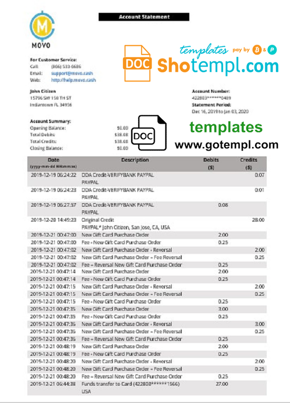 USA MOVO bank statement template in Word and PDF format, good for address prove