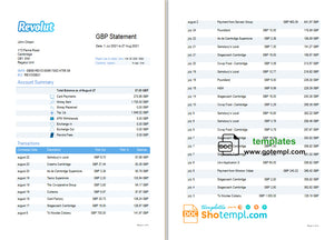 United Kingdom Revolut bank statement template in Word and PDF format (3 pages)