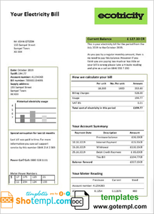 United Kingdom Ecotricity electricity utility bill template in Word and PDF format (.doc and .pdf)