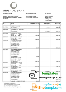 South Africa Imperial Bank statement easy to fill template in Word and PDF format