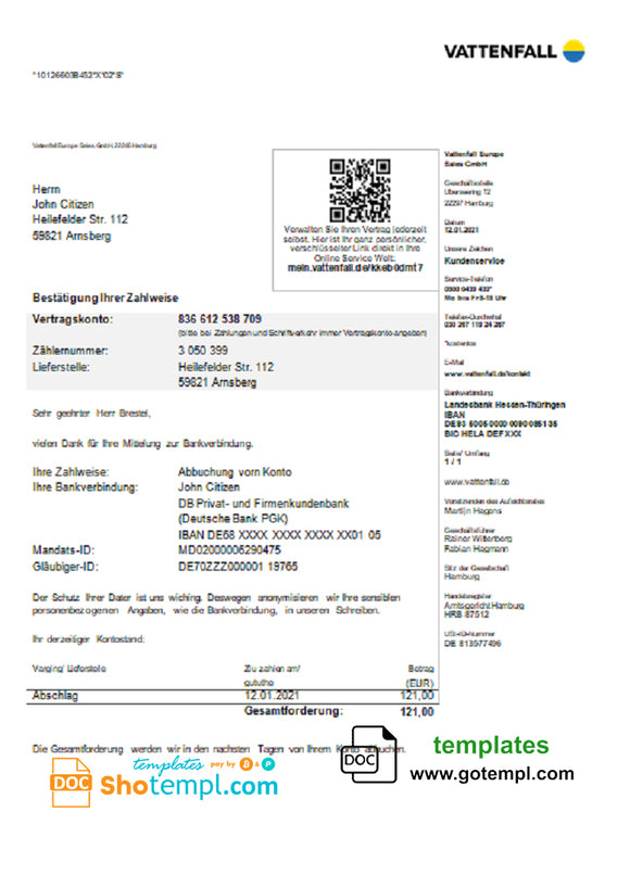 Germany VATTENFALL utility bill template in Word and PDF format (in German language)