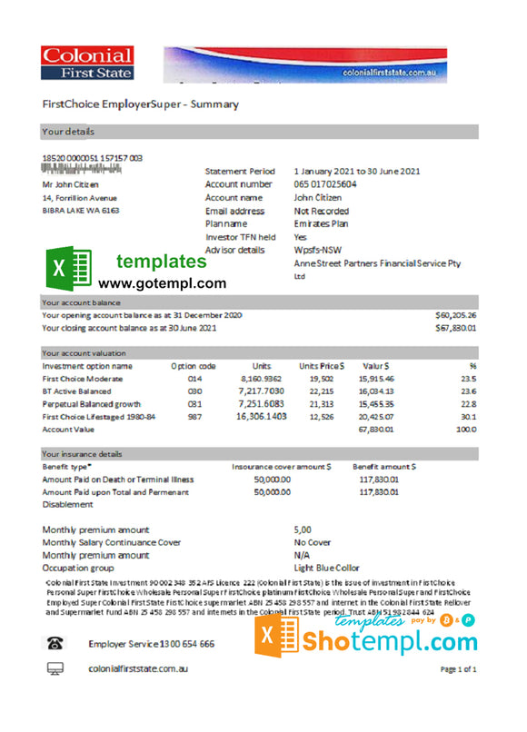 Australia Colonial First State Bank statement template in Excel and PDF format, fully editable