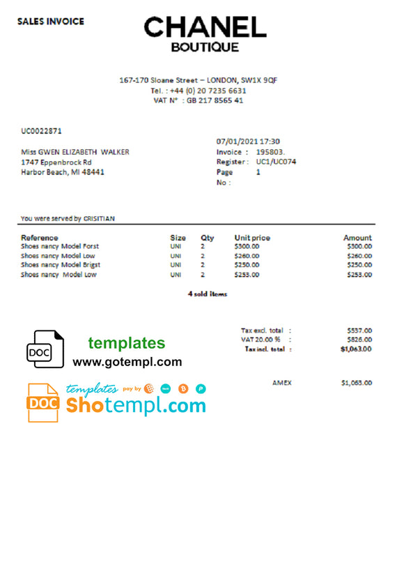 Sales Invoice Chanel Boutique template in Word format