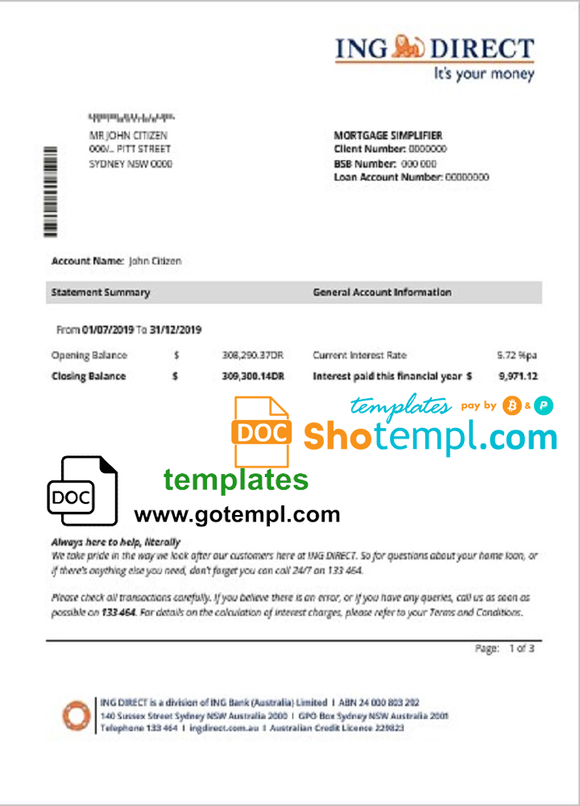 Australia ING Direct bank statement easy to fill template in Word and PDF format