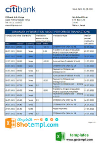 Kenya Citibank bank statement easy to fill template in .xls and .pdf file format