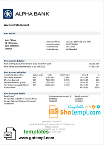 Cyprus Alpha Bank statement template in Word and PDF format