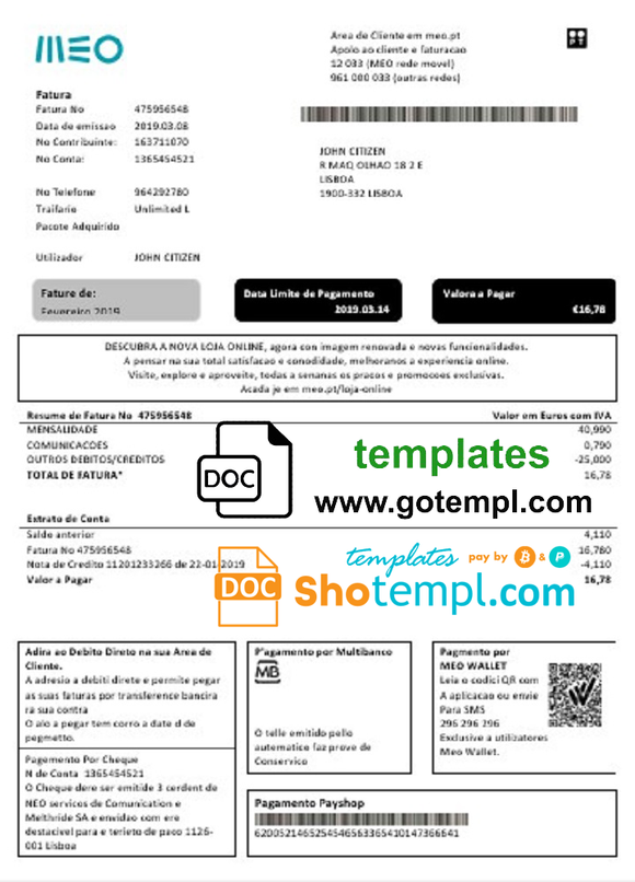 Portugal MEO utility bill template in Word and PDF format, fully editable
