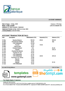 Cameroon Atlantic bank statement template in Word and PDF format