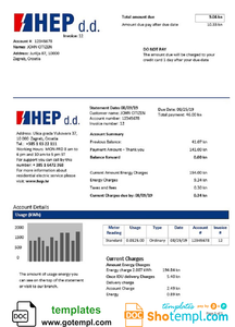 Croatia Hrvatska Elektroprivreda electricity utility bill template in Word and PDF format