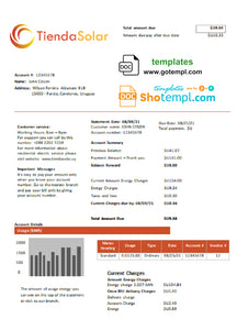 Uruguay TiendaSolar utility bill template in Word and PDF format