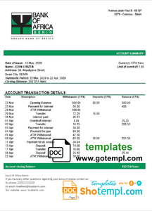 Benin Bank of Africa bank statement template in Word and PDF format