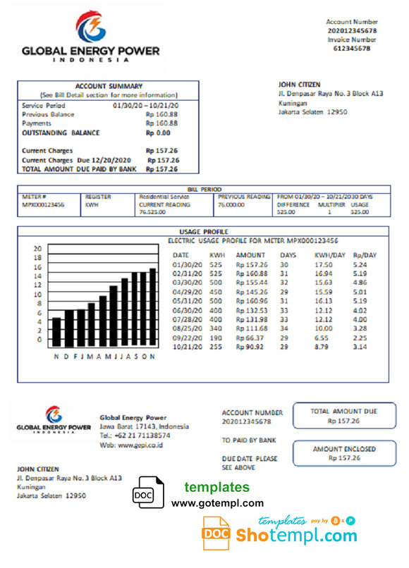 Indonesia Global Energy Power utility bill template in Word and PDF format