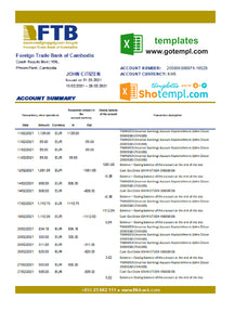 Cambodia Foreign Trade Bank of Cambodia bank statement easy to fill template in Excel and PDF format